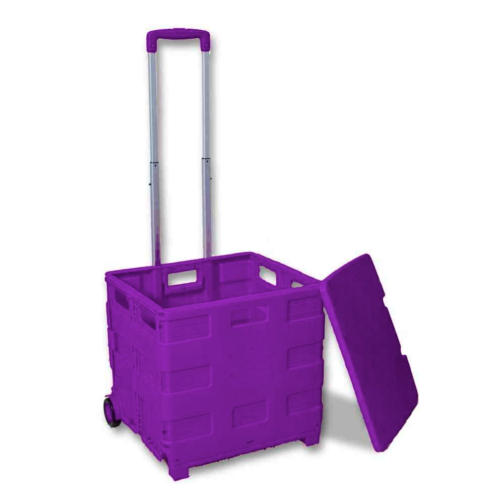 folding shopping cart purple