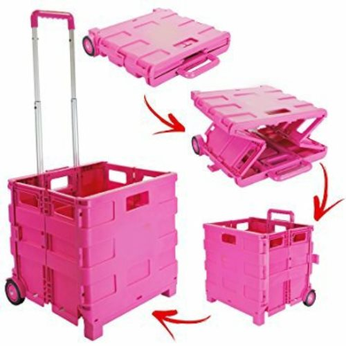 Pack and Go Shopping Cart with Lid Pink Folded
